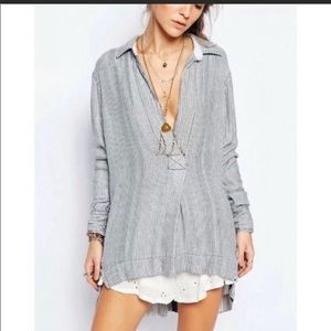 •Free People• On the Road striped tunic top